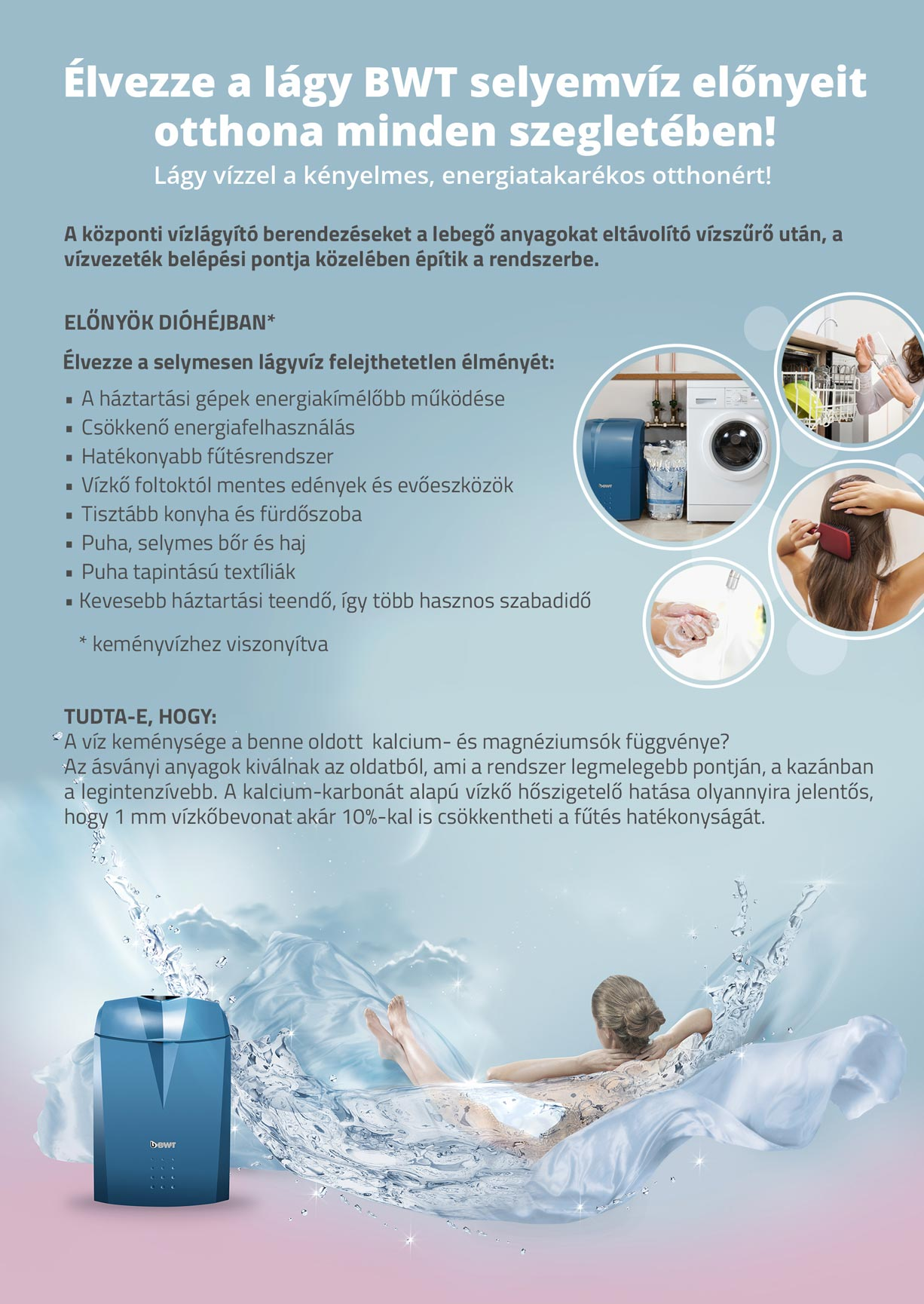 BWT vízlágyító berendezés előnyei