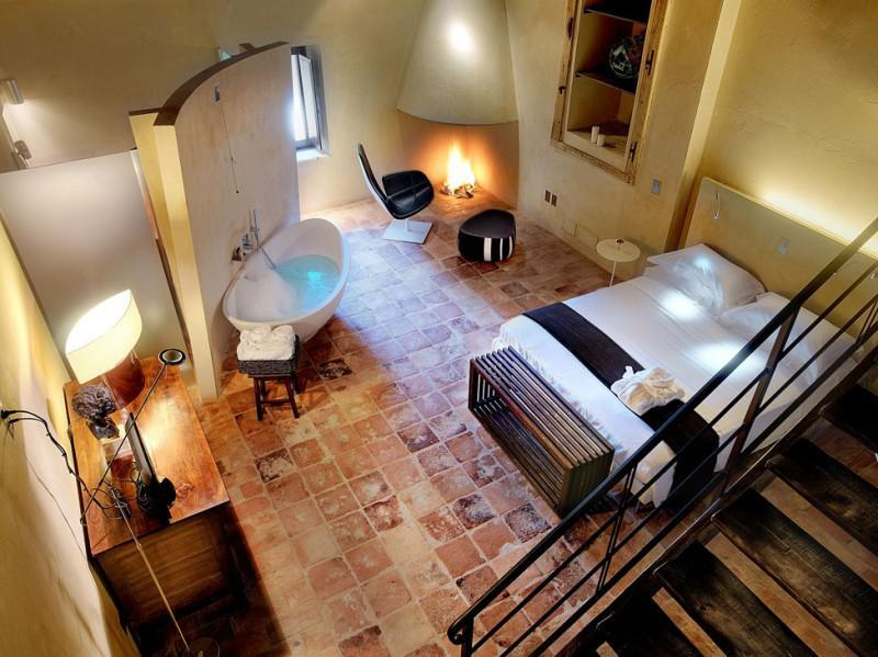 Rusztikus fürdőszoba hálóval