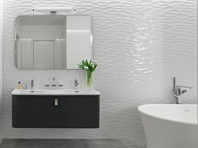 3D fal a fürdőben - fürdő / WC ötlet, modern stílusban
