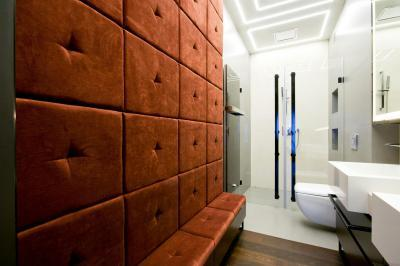 Modern fürdőszoba öltözőrésszel - fürdő / WC ötlet