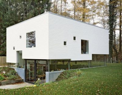 Ház az erdőben - homlokzat ötlet, modern stílusban