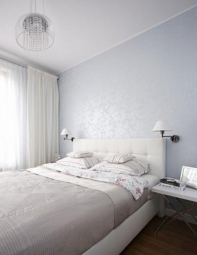 Halványkék hálószoba - háló ötlet, modern stílusban