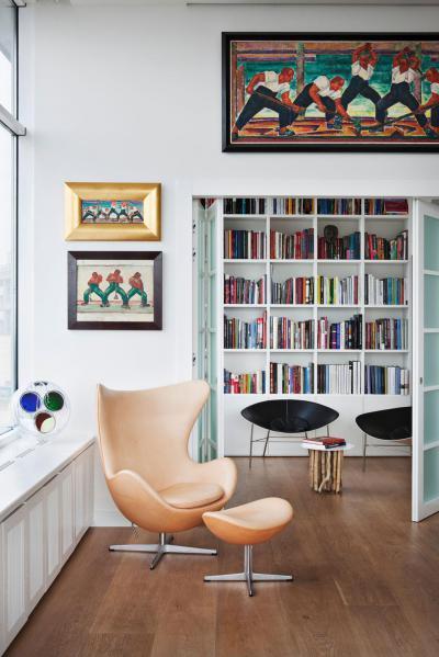 Belátás a könyvtárszobába - nappali ötlet
