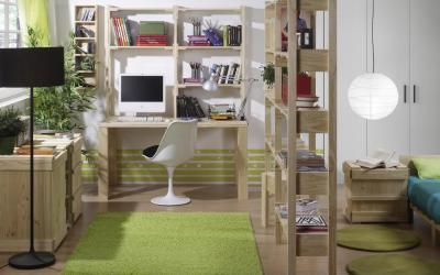 Modern világos gyerekszoba - dolgozószoba ötlet, modern stílusban