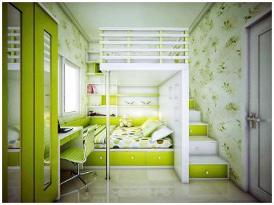 Galériázva lime-zöldben - gyerekszoba ötlet, modern stílusban