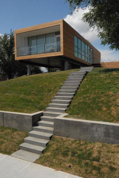 Kockaház - homlokzat ötlet, modern stílusban