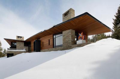 Ház a hegyekben - homlokzat ötlet, modern stílusban