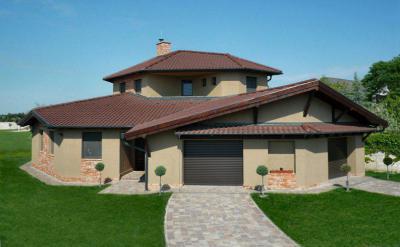 Családi ház homlokzata - tető ötlet, modern stílusban