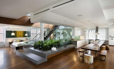 Modern konyha - nappali ötlet, modern stílusban