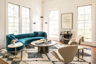 Nappali türkiz kanapéval - nappali ötlet