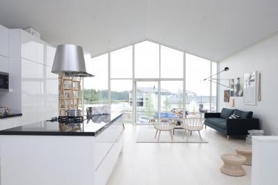 Konyha-nappali fém szagelszívóval, üvegfallal - nappali ötlet, modern stílusban
