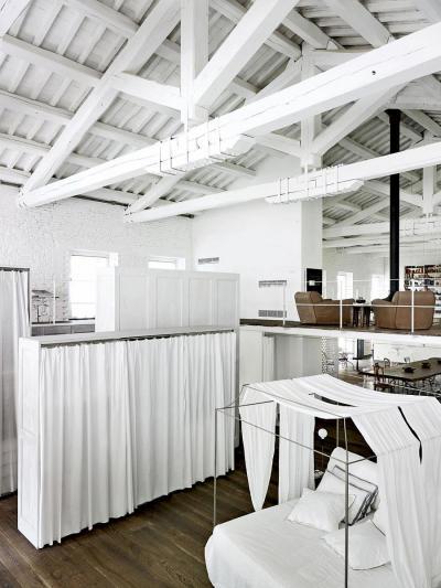 Ipari stílusú loft lakás - belső továbbiak ötlet, modern stílusban