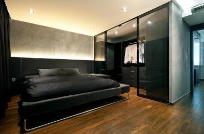 Modern minimál ipari stílusú hálószoba - háló ötlet