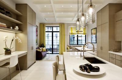 Elegáns konyha-nappali - konyha / étkező ötlet, modern stílusban