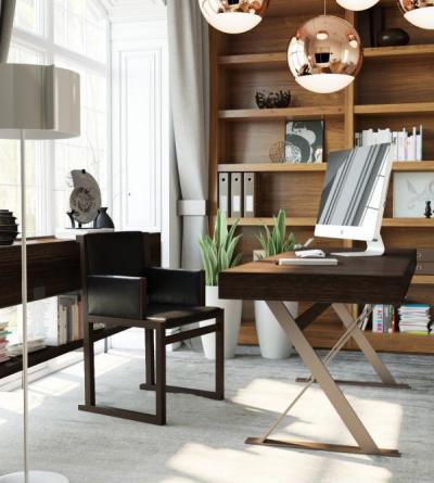 Egyszerű vonalak - dolgozószoba ötlet, modern stílusban