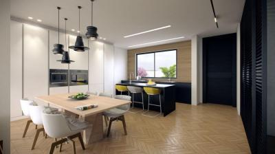 Parketta a konyhában - konyha / étkező ötlet, modern stílusban