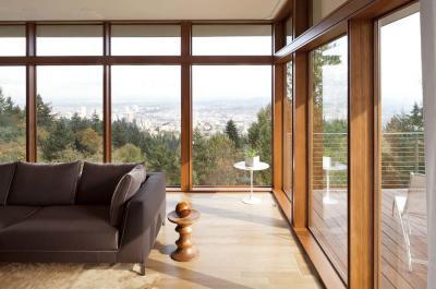 Nappali kilátással - nappali ötlet, modern stílusban