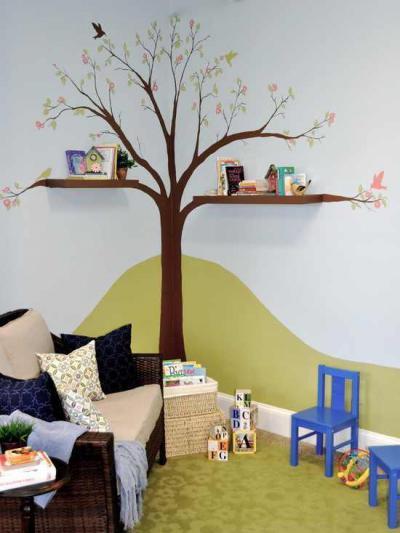 Fa a sarokban - gyerekszoba ötlet, modern stílusban