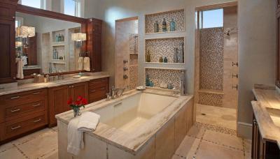 Klasszikus-modern fürdőszoba - fürdő / WC ötlet