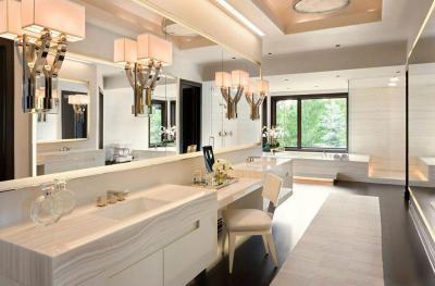 Klasszikus fürdőszoba sminkes pulttal - fürdő / WC ötlet, klasszikus stílusban
