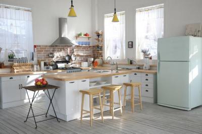 menta színű hűtőszekrény - konyha / étkező ötlet