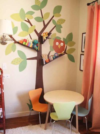 Baglyos fa - gyerekszoba ötlet, modern stílusban