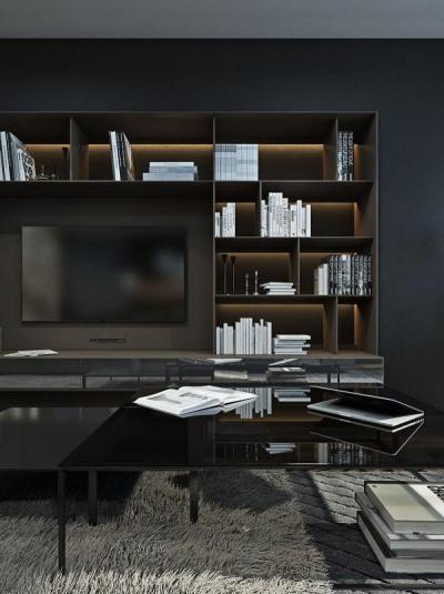 Nappali sötét színekkel - nappali ötlet, modern stílusban