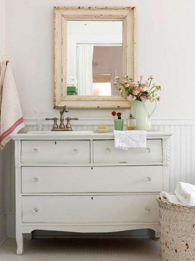 vintage mosdó - fürdő / WC ötlet, rusztikus stílusban