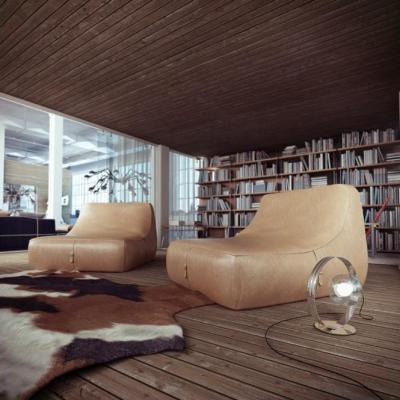 Loft nappali fával és bőrrel - nappali ötlet, modern stílusban