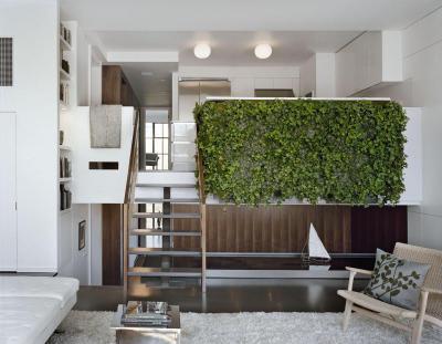 Zöldfal a nappaliban - nappali ötlet, modern stílusban