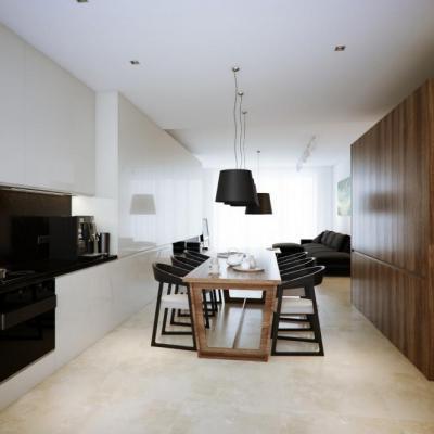 Fehér konyha-étkező diófa bútorokkal - konyha / étkező ötlet, modern stílusban