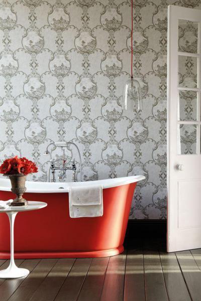 Piros kád a fürdőben - fürdő / WC ötlet, modern stílusban