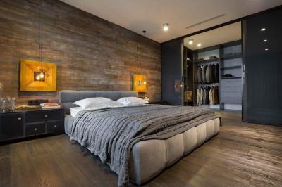 Hálószoba sok fával - háló ötlet, modern stílusban