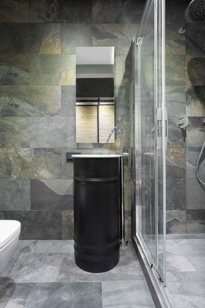 Loft fürdőszoba - fürdő / WC ötlet, modern stílusban