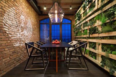 Loft étkező növényfallal - konyha / étkező ötlet, modern stílusban