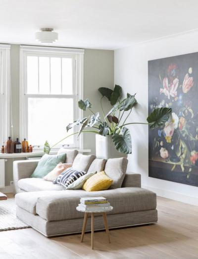 Pihenősarok pasztell színekkel - nappali ötlet, modern stílusban