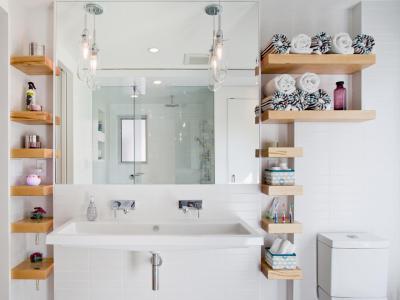 Lebegő polc a fürdőben - fürdő / WC ötlet, modern stílusban