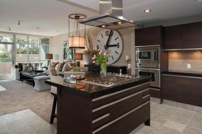 modern konyha faliórával - konyha / étkező ötlet, modern stílusban