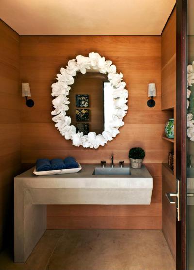 kő és fa a mosdóban - fürdő / WC ötlet, modern stílusban