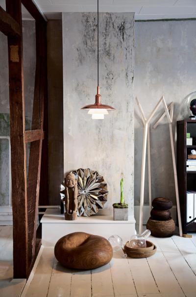 betonmintás falak - nappali ötlet