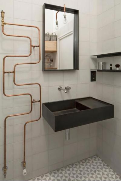 Ipari fürdőszoba - fürdő / WC ötlet, modern stílusban
