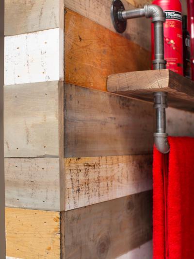 Újrahasznosított fa falburkolat a fürdőben - belső továbbiak ötlet