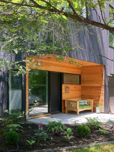 Lambériázott bejárat - bejárat ötlet, modern stílusban