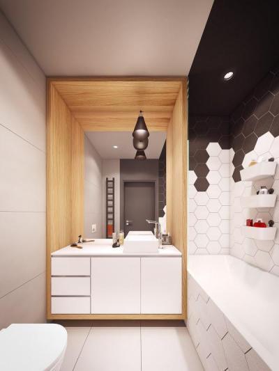 Fa fülkében mosdó - fürdő / WC ötlet, modern stílusban