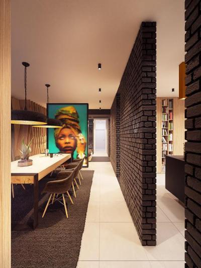 Hatalmas fénykép térelválasztó - konyha / étkező ötlet, modern stílusban