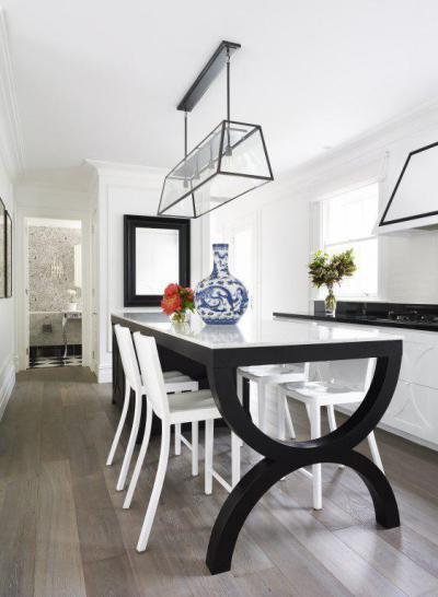 Fekete-fehér egyedi étkezőasztal - konyha / étkező ötlet, modern stílusban