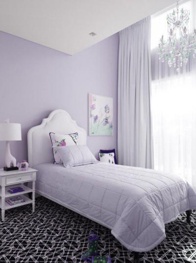 Világos lila szoba kislányoknak - gyerekszoba ötlet, modern stílusban