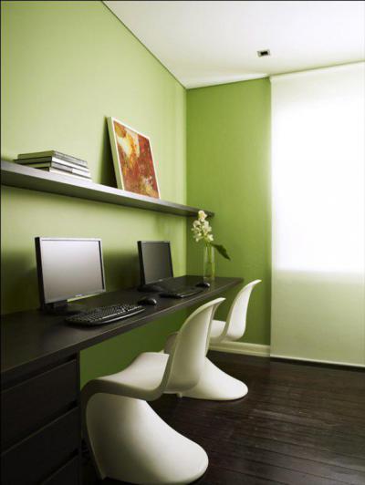 Íróasztal panton székkel - dolgozószoba ötlet, modern stílusban