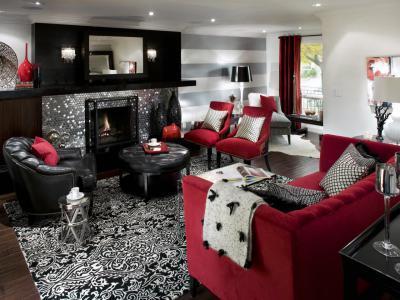 Vörös és fekete - nappali ötlet, modern stílusban