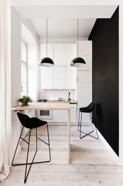 Fekete-fehér kis konyha - konyha / étkező ötlet, modern stílusban